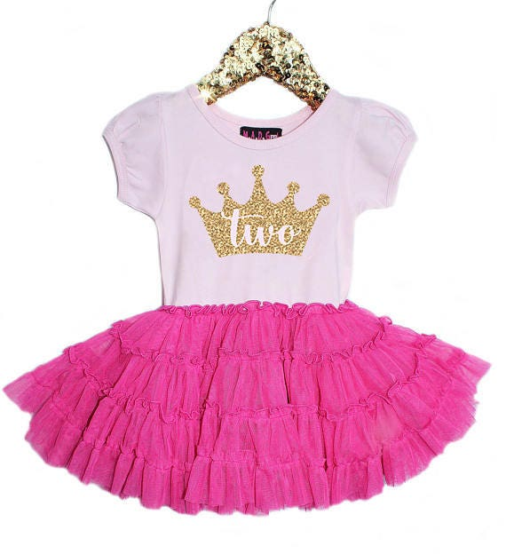 Second Birthday Outfit, 2nd Birthday Dress, Hot Pink Dress, Girls ...