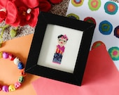 Frida Kahlo Inspired Mini Cross Stitch Picture (Framed)