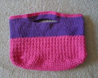 Purse - Large City Purse - Crochet Purse - Market Bag - Beach Bag - Pink and Ligth Purple