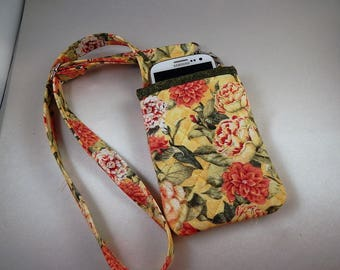 Yellow Flowers Open Top Pocket Easy Reach Cell Phone Lanyard Wallet Organizer Tote