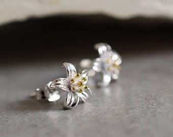 "925 Silver Mini Ear Studs ""Lily"""