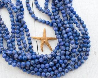 Blue Sesame  Beads, 6mm, 15 Inch Strand, 62pcs,  Gemstone Beads -P994