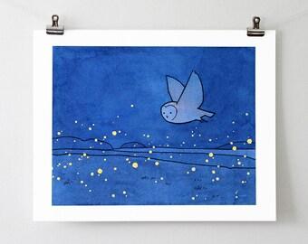 Owl and fireflies art print - barn owl drawing