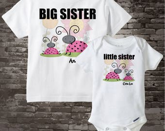 Personalized Big Sister and Little Sister Ladybug Shirt or Onesie, Set of Two 03232012d