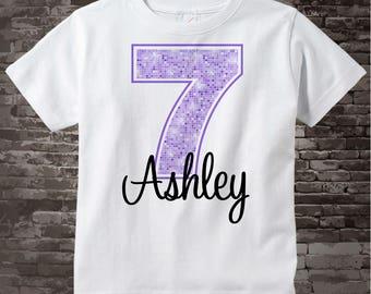 Seventh Birthday Shirt, Light Purple 7 Birthday Shirt, Any Age Personalized Girls Birthday Shirt Light Purple Age and Name 03052014b