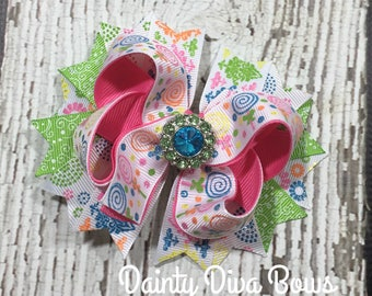 Spring Hair Bow, Pink Green Blue Hair Bow, Toddler Hair Bow, Bow for Toddlers, Bow for Girls, Girls Hairbow, Boutique HairBow, Ready to Ship
