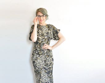 abstract picasso print harem dress . avant garde mermaid secretary frock .small.medium .sale