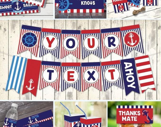 Nautical Birthday Party Set, 1st Birthday, Sailor Party, Nautical Party Decor | Editable Text - DIY Instant Download PDF Printable