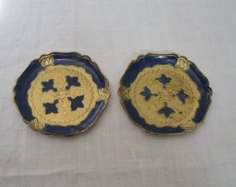 Vintage Pair of Navy & Gold Florentine Coasters - Made in Italy