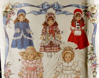 """Sewing Pattern 16"""" & 18"""" Fits American Girl Victorian Style Doll Clothes  8766"""