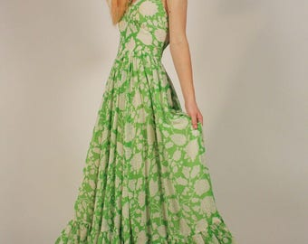 Vintage Lime Green Floral Halter Dress
