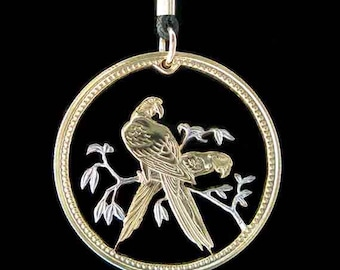 Cut Coin Jewelry - Pendant - Belize - Parrots