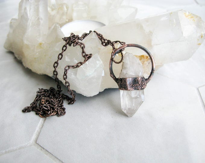 Boho necklace Brazilian Quartz Pendant Electroformed Copper Necklace Modern Jewelry Large Quartz Pendant Statement necklace OOAK