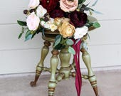Custom Listing for Breann - Burgundy Wine, Beige, Peach and Ivory Wedding Bouquet and Matching Bridesmaid Bouquets Set