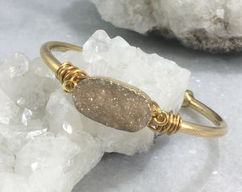Oval Druzy Quartz Wire Wrap Cuff Bracelet | Brass | Brass Wire | Adjustable | Natural Stone