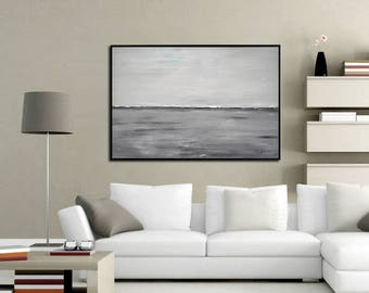 Abstract Landscape 24 x 36 Large Painting Original Modern Contemporary Art Gray White Seascape Oil Painting by Sky Whitman