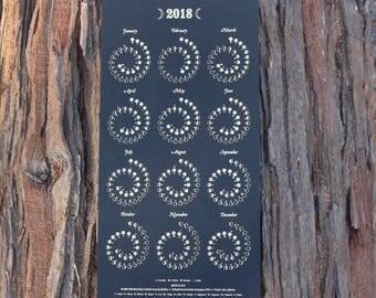 2018 Small Moon Calendar - Gold Foil on Black Edition