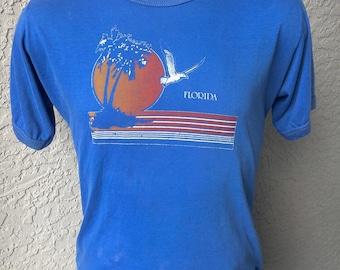Florida 1980s soft vintage ringer t-shirt - smoky blue size large