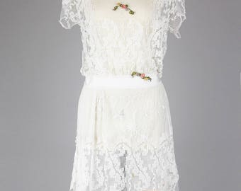 Stunning 1920s Asymmetrical Lace Tea Dress / Gatsby Wedding / Lawn Party / Afternoon Dress