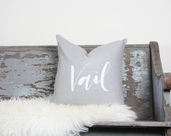 "18""x18"" Light Gray Linen with White Ink ""Vail"" Pillow Cover 