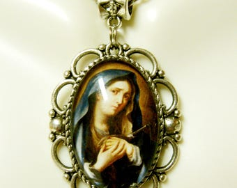 Our Lady of Sorrow in blue pendant and chain - AP26-256