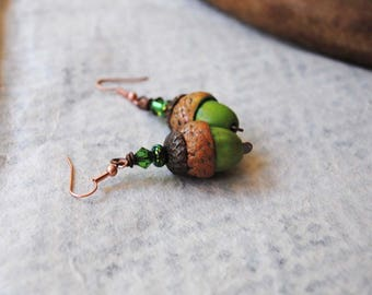 Acorn Earrings, Green Earrings, Autumn Fall Earrings, Woodland, Polymer Clay Earrings, Light Weight Earrings, Nature Inspired Jewelry, OOAK