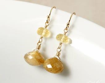 Golden Rutile Quartz and Yellow Citrine Drop Earrings - 14Kt Gold Filled - Rutilated Quartz Earrings, Dangle Earrings