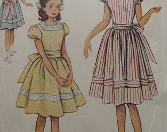 Vintage 1950s McCall's 8536 Sewing Pattern Girls Fit and Flare Sunday Dress Size 8