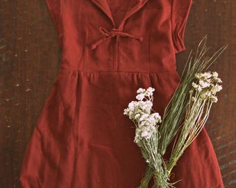 Vintage 70s rust wool blend dress / Folk autumn winter frock dress