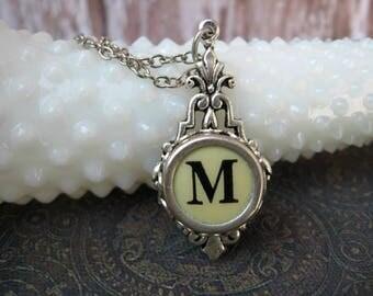 Typewriter Key Jewelry - Typewriter Necklace - Letter M - Typewriter Charm - Vintage Key