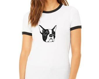 Boston Terrier Shirts for Women, Ringer Tee Shirt, Screenprinted Graphic Tee, Short Sleeved Shirt, Gift For Dog Lovers, Boston Terrier Dog