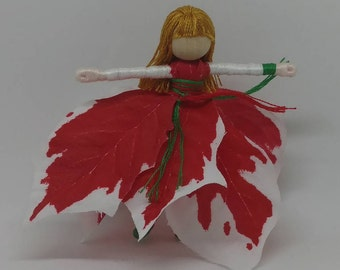 Christmas Fairy - Waldorf Flower Fairy Doll - Red and White Flower Fairy - Poinsettia