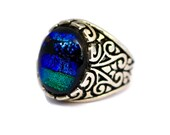 Dichroic Glass Ring, Fused Glass Ring, Adjustable Ring, Blue and Green Ring, Adjustable Silver Ring