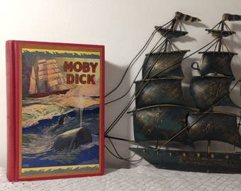 Vintage Moby Dick Or The Whale by Herman Melville, Illustrations by Alfred Staten Conyers (c) MCMXXXI  1931 Saalfield HC. Classic literature