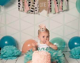 1st Birthday Tutu Dress   Birthday Tutu   Baby Tutu Skirt   Teal Tutu   Strawberrie Rose   Teal Mint Peach 1st Birthday Tutu