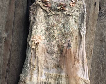 ballett musings--  shabby chic whimsy bohemian top, antique embroidery, reworked
