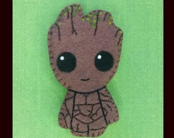 Baby Groot handsewn and hand painted accessory, baby tree magnet, groot ornament