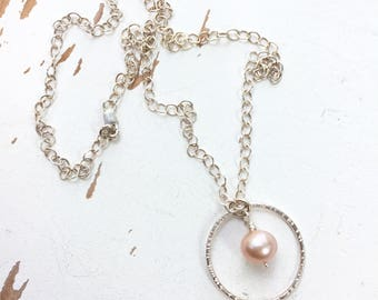 Sweet as Can Be - Fused Fine Silver & Pearl - Single Circle Necklace