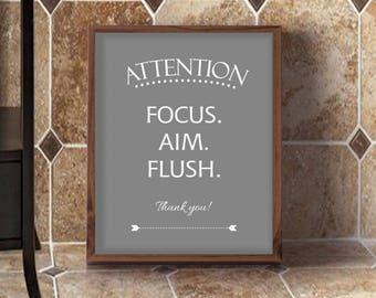 Marvelous Boys Bathroom Sign, Focus Aim Flush, Toilet Sign, Bathroom Sign For Man,