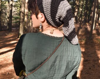 Black and Grey Pixie Long Cap - READY TO SHIP