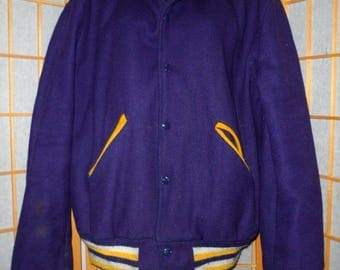 Vintage Cheerleader or Other Sports Girl's Junior's Women's High School College Letterman's Jacket Large Purple Yellow