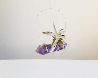February Birthstone, Hanging Air Plant Hanger Crystal, Boho Decor, Dream Amethyst, Chevron, gift for Friend, Ultra Violet Wall Decor