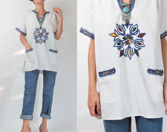 60s 70s Dashiki Blouse Hippie Embroidered White Cotton Blouse Boho Ethnic Pullover Tunic Top Blue Yellow Mandala Shirt Festival (L) E101040