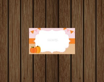 Pumpkin Food Tent Cards, Pumpkin Food Labels, Pumpkin Food Cards, Pumpkin Placeholders, Pumpkin Baby Shower, Instant Download