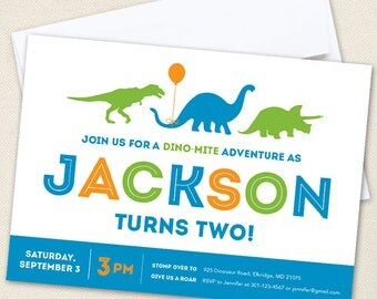 Dinosaur Party Invitations - Professionally printed *or* DIY printable