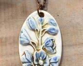 Purple flower Necklace-Porcelain Jewelry-Kim OHara Designs-Ceramic Jewelry