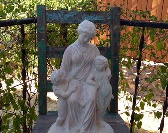 """Beautiful Roman Style Large Vintage Heavy Plaster Statue of a Mother w/Children, Boy & Girl measuring 18.5"""" x 11"""" x 8.5"""" ~ Felted Bottom ~"""
