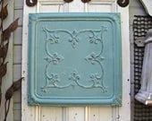 Antique Ceiling Tin Tile. Architectural salvage. Vintage pressed tin panel. Aqua turquoise wall art. Beach decor