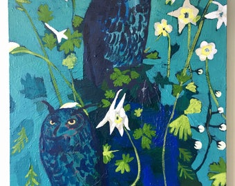 Original Painting titled Midnight Owls, Acrylic On Canvas