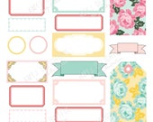 Printable Vintage Labels and Tags stickers! -Digital File Instant Download- floral, pastels, dime store, bando, happy planner, hand drawn